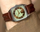 Men's watch upcycled, gent's watch square, mint brown wristwatch Era, fun watch unisex, premium leather band new