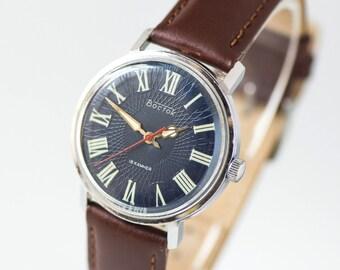 Mint condition men's watch East, dark navy face guy's watch, men's accessory watch, ornamented boyfriend's watch, premium leather strap new
