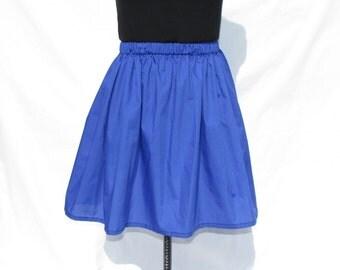Blue knee length skirt, elastic waist
