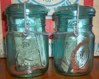 MANY Available NEW Unused 1976 Ball Ideal Bicentennial Salute Pint Aqua Blue Mason Canning Jar with Wire Bail Glass Lid