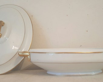 Antique JHR Hutschenvether Selb Bavaria  Oval White Gold Covered Vegtable Casserole Bowl Classic  Mix Match Serving Wedding Bridal