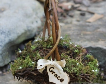 Flower Girl Basket Personalized Lined With Moss, Pearls, Custom Ribbon, Rustic, Cottage Weddings