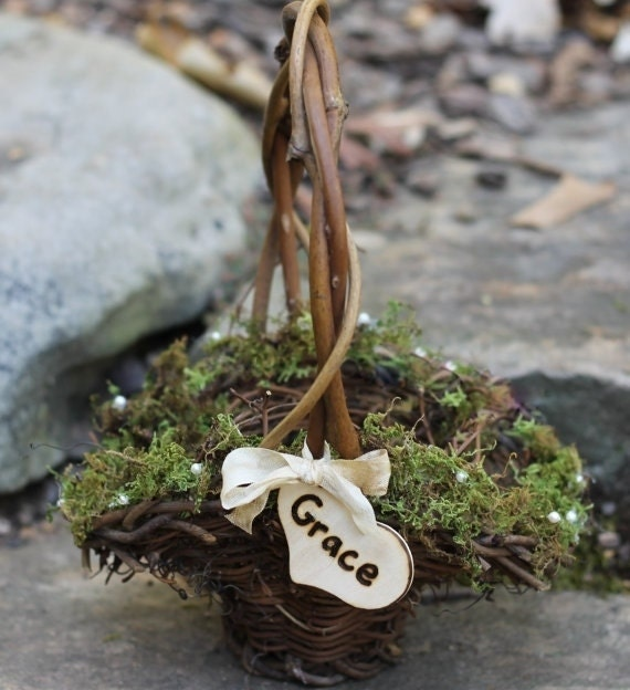 Flower Girl Basket Moss : Flower girl basket personalized lined with moss by