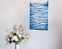 Linen Arashi Shibori Eco Tea towel kitchen cloth natural indigo hand dyed Australia Bind and Fold