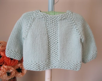 Handmade Baby Sweater..........pale mint seed stitch pullover