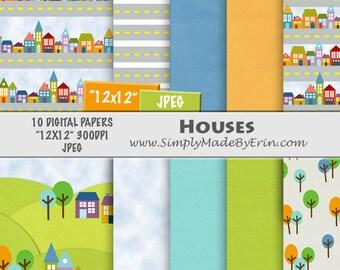 House Digital Paper / Digital Scrapbook Paper Pack / Houses & Trees Digital Paper / 12x12 Digital Paper Pack