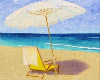 Relaxing Day at the Beach Impressionistic Oil Painting, Art Print, Wall Decor, Sand, Umbrella, Vacation