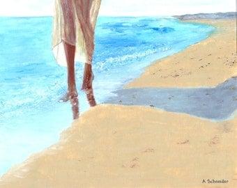 Walking Along the Beach, Oil Painting, Art Print, Wall Decor