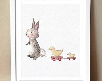 """GicleeArt Print - """"Let's Go Places"""" - Nursery Artwork - Bunny and Duck toy"""