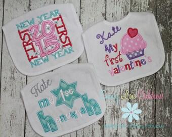 Set of Three (3) Applique Baby Bibs - Valentine's Day, New Year, Hanukkah- Great Baby Gift