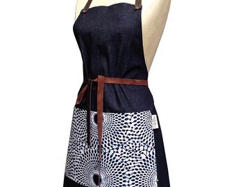 Denim + Wax Print Bib Aprons with Leather Straps (Indigo Delft, Large Circles)