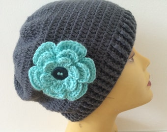 Charcoal Beanie Hat With Rose Flower, Women Beanie Hat, Usa Seller