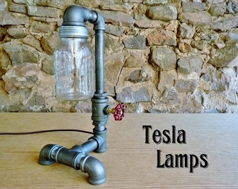 FAUCET HANDLE DIMMER! Black iron pipe lamp, mason jar shade, faucet handle dimmer, cloth cord, antique style bulb!