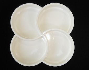 Dansk Denmark Gunnar Cyren White Swirl Divided Plastic Snack Tray - Mid Century Modern 4 Section Melamine Server