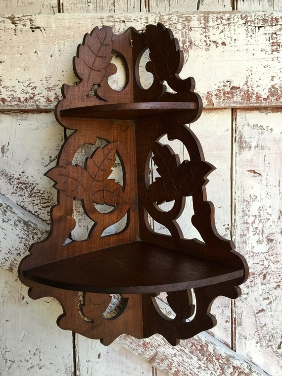 Vintage Wood Corner Shelf Ornate Knick Knack Two Tier Wooden