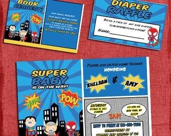 Printable Baby Superhero Baby Shower Invitation Set -Invite + Diaper Raffle Ticket + Book Request - I design you print