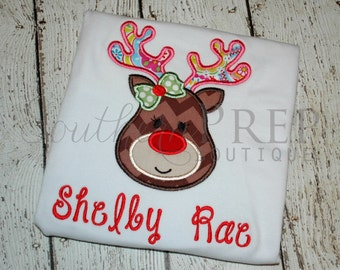 Girl's Reindeer Shirt - Christmas Applique Design - Girl's holiday shirt