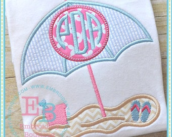 Umbrella Monogrammed Beach Shirt - Summer Applique Design - Girl's or Boy's shirt - Monogram included - Beach Shirt
