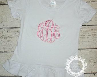 Monogrammed Ruffle Tee - Personalized Design - Monogram - Birthday Shirt - Princess - Back to School
