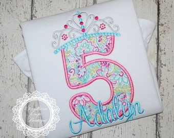 Girl's Princess Crown Applique Birthday shirt - Custom Fabric colors available - #1-8