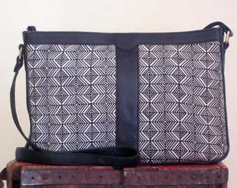 80s Purse / Geometric Bag / Black and White / Leather and Fabric / Shoulder Bag
