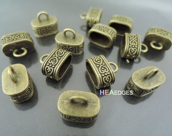 4pcs Antique Brass End Caps 12mm x 7mm -  Findings Antique Brass Large Paracord Ornate Leather Cord Ends Cap with Loop 15m x 9mm
