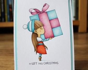 Christmas Present JoJo A4 Digial Stamp Digital Download
