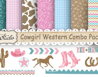 Western Cowgirl Paper, Clip-art Combo Pack,  Digital paper,Scrapbook clip art, Birthday, country western, craft supplies, printable, JPEG