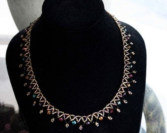 REDUCED from 25 dollars to 19.50 Swarovski Crystal Rainbow or Cinnebar Victorian Weave Necklace