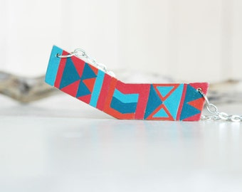 Geometric necklace, hand painted chevron necklace,wood necklace,blue and red modern necklace