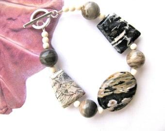Black and white bracelet, Ocean Jasper, Silver Leaf Jasper, bone and Silver Mist Jasper bracelet, beaded bracelet, gemstones 423