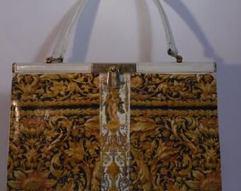 """French vintage handbag """" Louis XIV A VERSAILLES"""" unique  piece evening bag"""