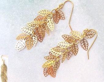 SALE Gold Leaf Earrings, Gold Earrings, 14K gold filled, dangle earrings, leaves, filigree, prom, formal, fall fashion, bridal weddings