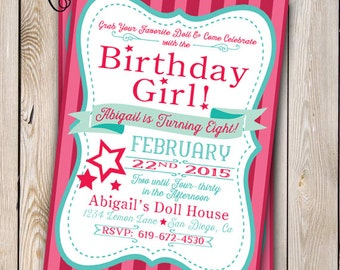 printable paper doll  etsy, Birthday invitations