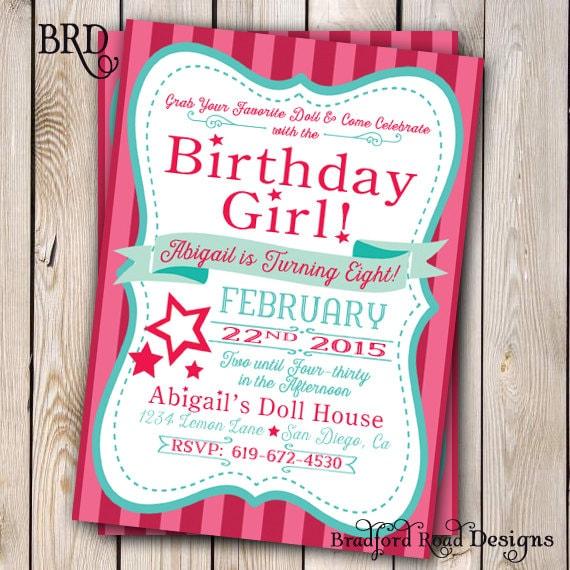 Girl Doll Birthday Doll Invitation Doll Party Customizable 5x7 – Girly Party Invitations