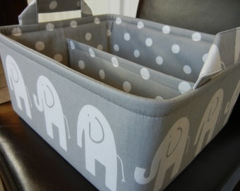 "LG Diaper Caddy12"" x 10"" x 6""(choose Lining COLORS)""One Divider -Baby Gift-Fabric Storage Organizer-Elephant-""White Ele on Grey"""