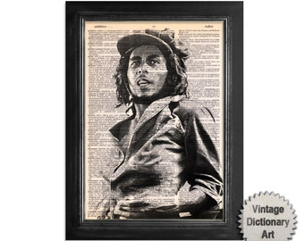 Bob Marley - The Musician Series - Printed on Vintage Dictionary Paper - 8x10.5