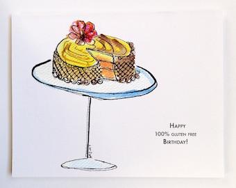 Gluten Free Cake Birthday Card