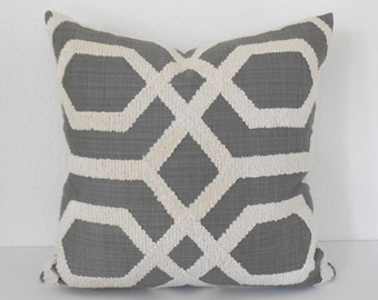 Charcoal gray embroidered tufted trellis decorative pillow cover