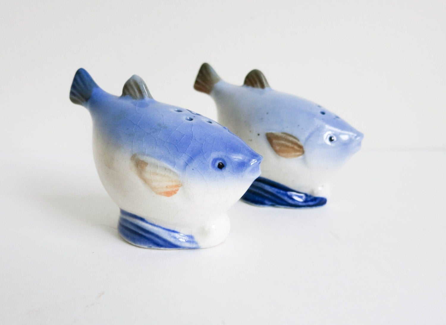 Vintage Blue Fish Salt And Pepper Shakers Or Figurines Water