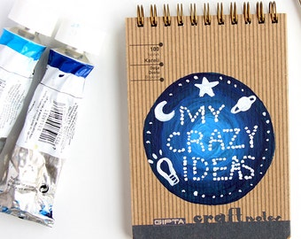 Spiral notebook with hardcover Hand painted ideas notepad