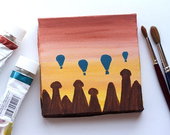 Original acrylic painting Cappadocia Hot air balloons Fairy Chimneys