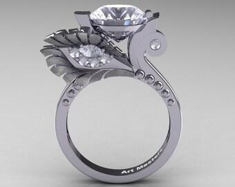 High Fashion Nature Inspired 14K White Gold 3.0 Ct White Sapphire Diamond Marquise Eye Engagement Ring R359S-14KWGDWS