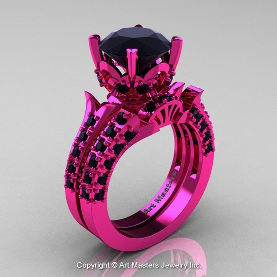 like this item - Pink And Black Wedding Rings
