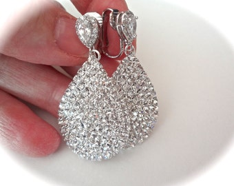 Crystal rhinestone earrings, Clip-on's, Bridal jewelry, Prom, Formal, Clip on earrings, Wedding earrings , These would make a great gift