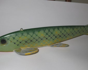 Vintage George Randle Fish Decoy Green Scale collectible ON SALE