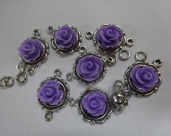 DIY Bracelet Kit. Antique Silver with Violet Roses.