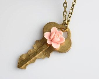 Secret Garden Key Necklace. Pink Magnolia Flower.