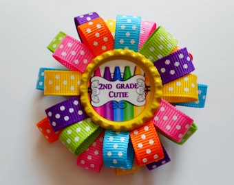 Back to school Second Grade Cutie loopy flower hair bow
