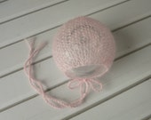 Newborn Pink Luxury Lightweight Lace Knit Classic Mohair Bonnet - Ready to Ship Photography Prop, RTS Photo Prop